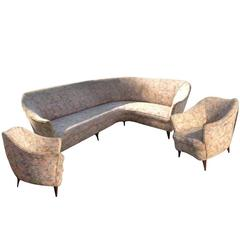 Gio Ponti Sofa and Armchairs. Italy 1938