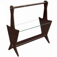 Italian Walnut and Glass Magazine Rack, 1950s