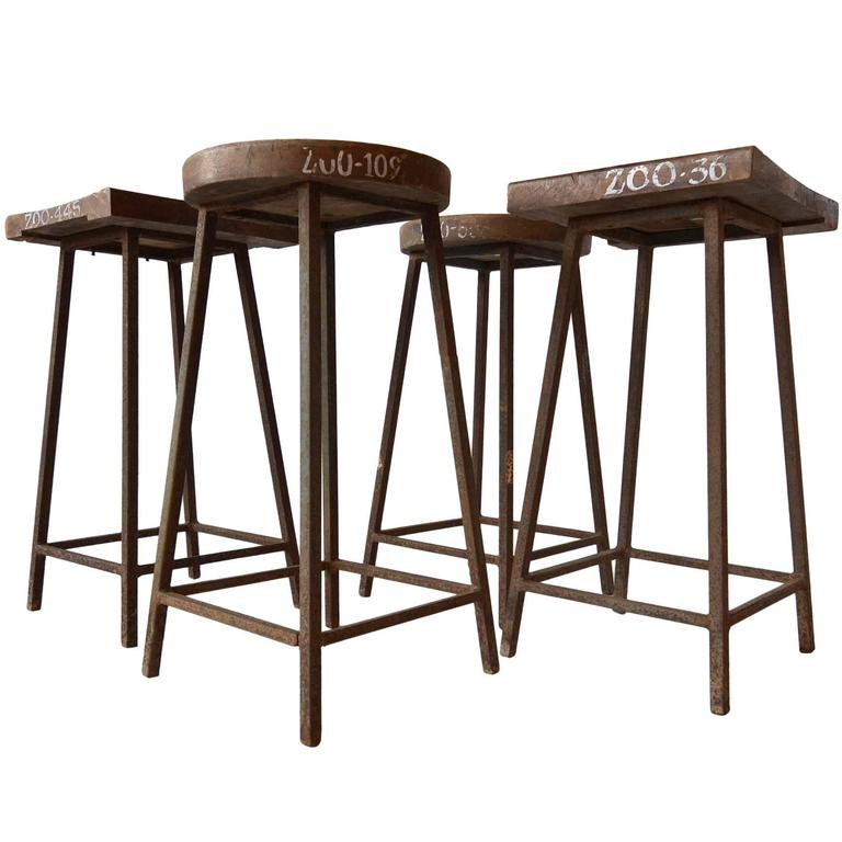 Rare Pierre Jeanneret Solid Stools for the Zoological Department 1