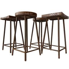 Rare Pierre Jeanneret Solid Stools for the Zoological Department