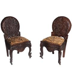 Pair of Elaborate Anglo-Indian Carved Chairs, circa 1850