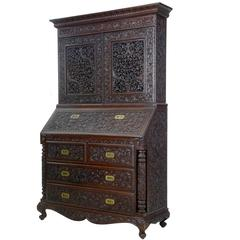 Late 19th Century Carved Anglo-Indian Padouk Bureau Bookcase