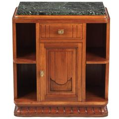 French Art Deco Marble-Top Walnut Cabinet or Side Table, 1930s