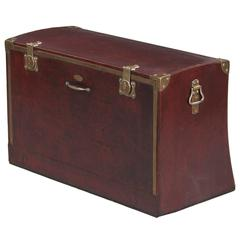 Antique French Automobile Leather Trunk, circa 1900s