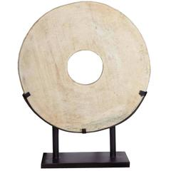 Large White Stone Coin or Wheel on Stand