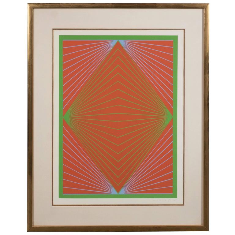 "Richard Anuszkiewicz ""Diamond Chroma"" Screenprint in Colors, 1965"