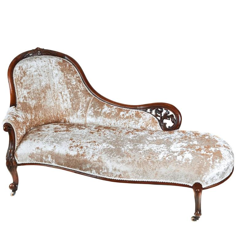 19th century victorian carved walnut chaise longue for for Carved chaise lounge