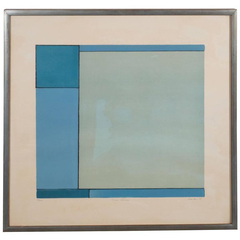 American Ludwig Sander Geometric Color Field Lithograph
