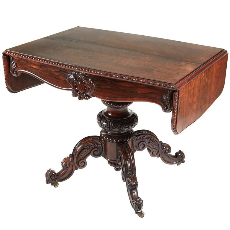 19th century victorian carved rosewood sofa table for sale for Sofa table victorian