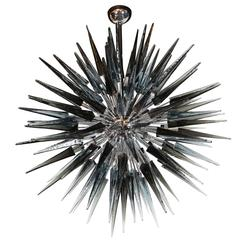 Stunning Smoked Grey Handblown Murano Glass Spiked Starburst Chandelier
