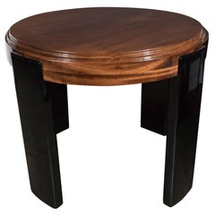 Art Deco Skyscraper Style Stepped Detail Side Table with Black Lacquer Legs