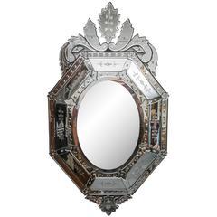 20th Century Octagonal Etched Venetian Mirror