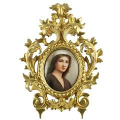 "19th Century C. M. Hutschenreuther Hand-Painted Porcelain Plaque ""Ruth"""