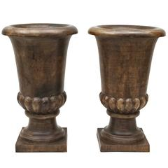 Pair of Large, Early 20th Century French Carved Wood Urns