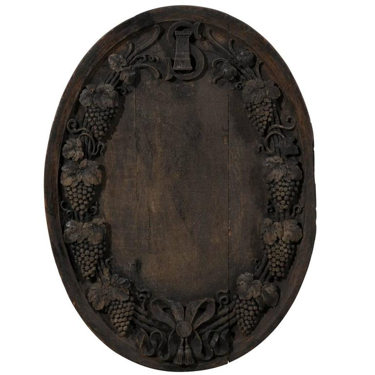 A French 19th Century Hand-Carved Wooden Wine Cellar Plaque with Grape Vines For Sale