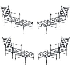 Rare Set of Four Iron Chairs and Ottomans by Salterini