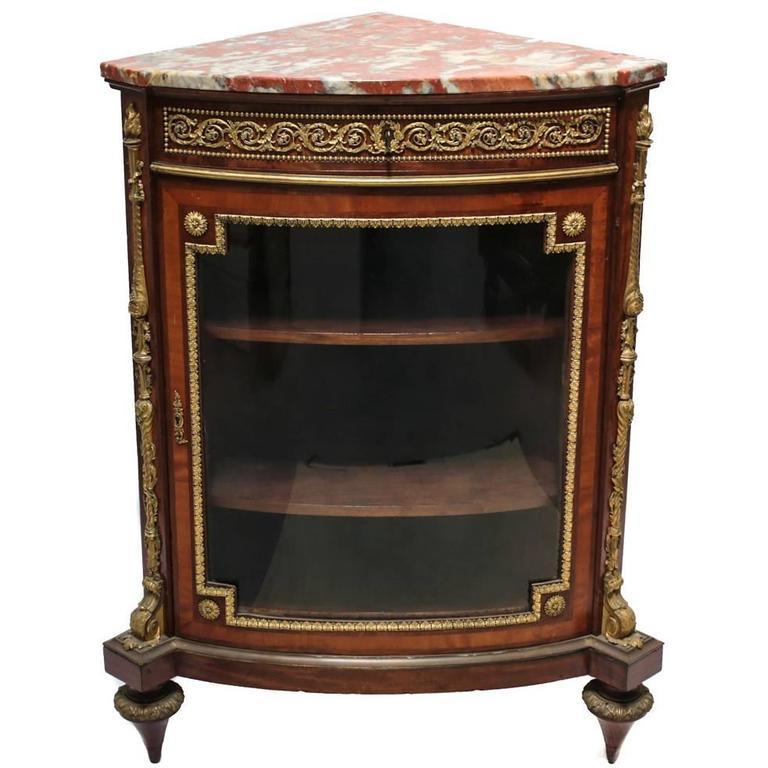 Louis XVI Style Ormolu Mounted Mahogony Corner Cabinet by