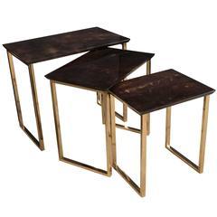 Set of Three Aldo Tura Parchment Rectangular Nesting Tables W/ Polished Bronze