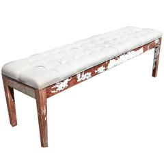 Vintage Farm Bench Upholstered Tufted