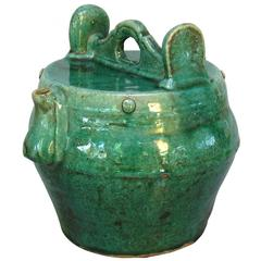 Emerald Green Glazed Shiwan Pottery Teapot Qing Dynasty, Late 19th Century