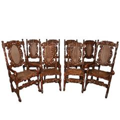Vintage Set of Eight Carolean Style Oak Dining Chairs