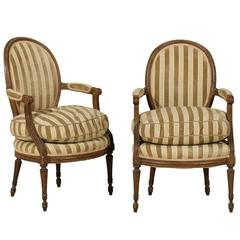 Pair of French 19th Century Louis XVI Style Bergères Oval Back Chairs