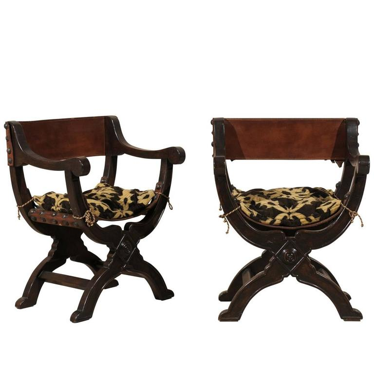 Pair Of Italian Dante Style Wooden Chairs With Leather Back And Seat
