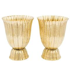 Amazing Pair of Josef Hoffmann Vases Brass Wiener Werkstatte, circa 1921