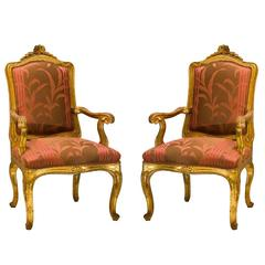 Pair of Genoese Gold-Plated Louis XV Armchairs