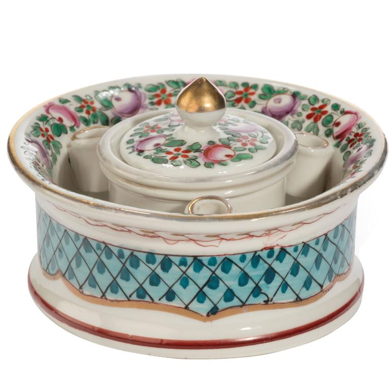 Early 20th Century Continental Porcelain Inkwell For Sale