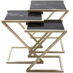 Zumm Zum Zu Set of 3 Black Marble Nesting Tables