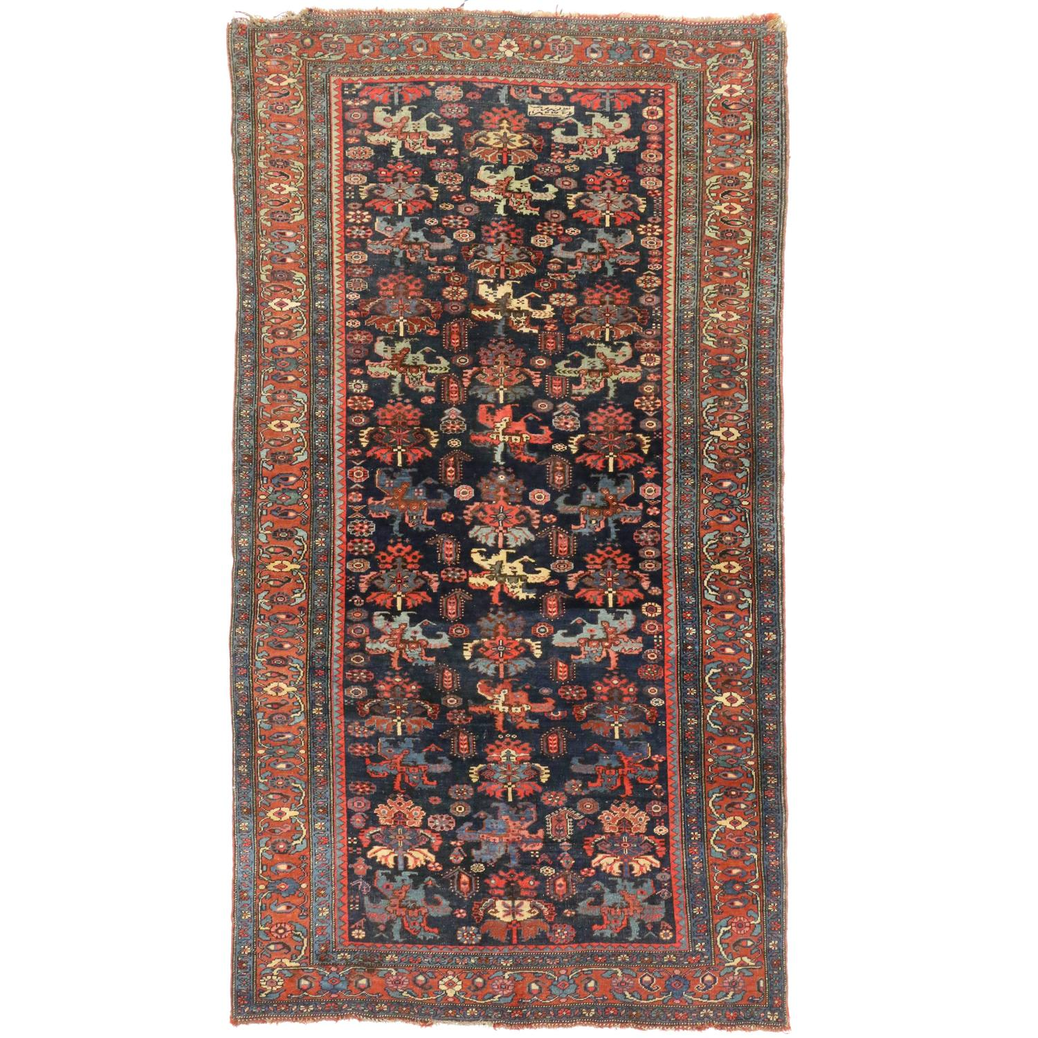 Late 19th Century Antique Persian Bijar Rug For Sale At