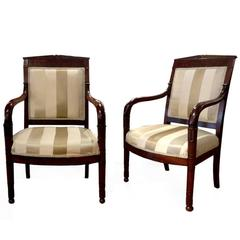 Set of Four French Empire Fauteuil Armchairs