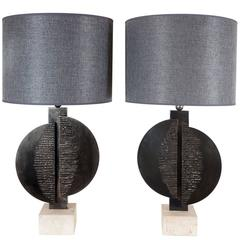 Pair of Brutalist Style Table Lamps