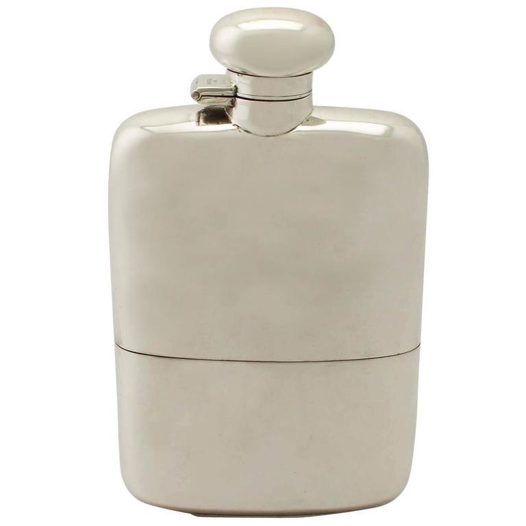 Sterling Silver Hip Flask, Antique George V
