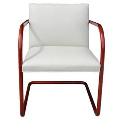 Vintage Ivory Leather Copper Frame Tubular Knoll Brno Chair, Mies van der Rohe