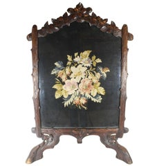 Late 19th Century Black Forest Fireplace Screen with 20th Century Needlepoint