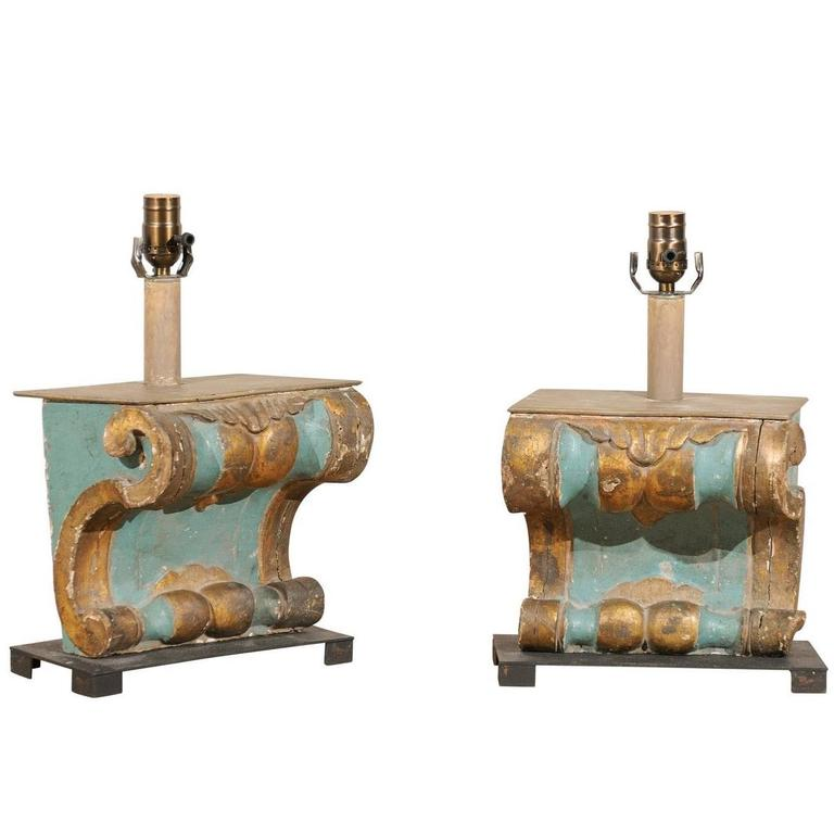 Pair of Italian 19th Century Wooden Architectural Elements Made into Lamps