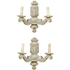 Pair of French Carved and Two-Toned Painted Wood Sconces with Acanthus Leafs