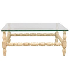 Square Shaped Glass Top Table with Bleached Wood Base and Turned Legs