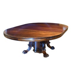 """60"""" Round American Empire Center-Pedestal Dining Table with Extension Leaves"""