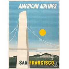 Original Vintage American Airlines Travel Advertising Poster for San Francisco