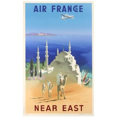 Original Vintage Air France Poster by J Even Advertising Travel To The Near East
