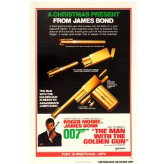 "Original 1974 Rare Design James Bond Movie Poster ""The Man With The Golden Gun"""