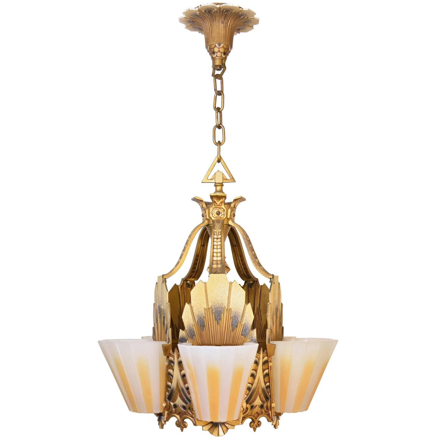 Williamsonbeardslee art deco slipper shade chandelier circa 1928 williamsonbeardslee art deco slipper shade chandelier circa 1928 at 1stdibs arubaitofo Image collections
