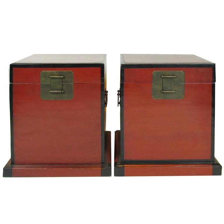 Large Pair of 19th Century Red Lacquer Storage Chests, Probably Japanese