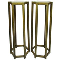 Pair of 19th Century Tall Chinese Hexagonal Stand with Inset Marble Tops