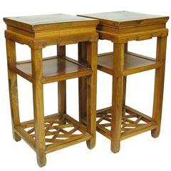 Pair of 19th Century Chinese Carved Elmwood (Jumu) Side Table, Stands