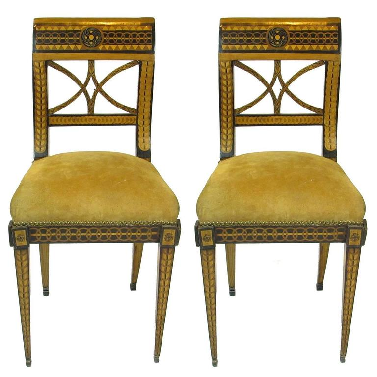 Pair Of 19th Century Biedermeier Inlaid And Painted Decorated Side Chairs For Sale At 1stdibs