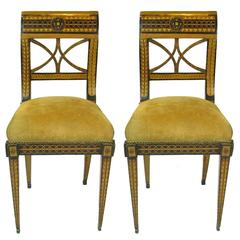 Pair of 19th Century Biedermeier Inlaid and Painted Decorated Side Chairs